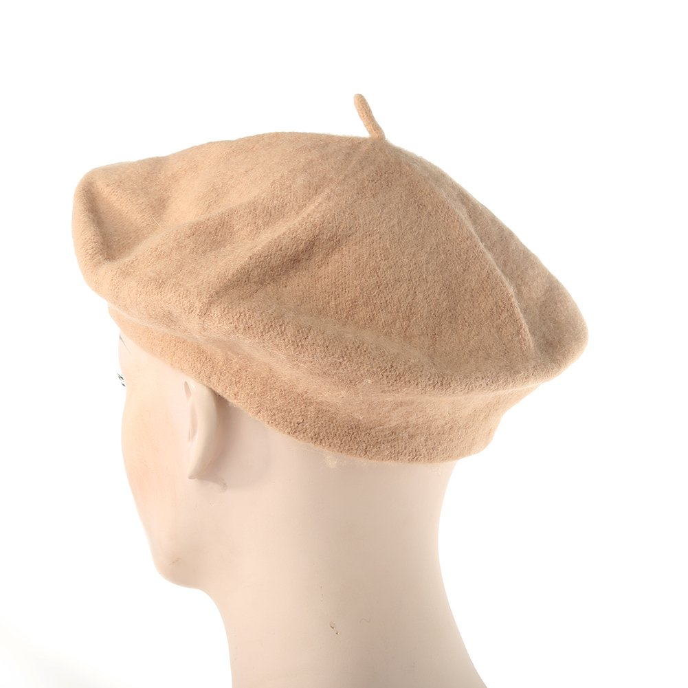 Potato001 Solid Color Warm Wool Winter Girl Beret French artist Beanie Hat Ski Cap 12 Colors