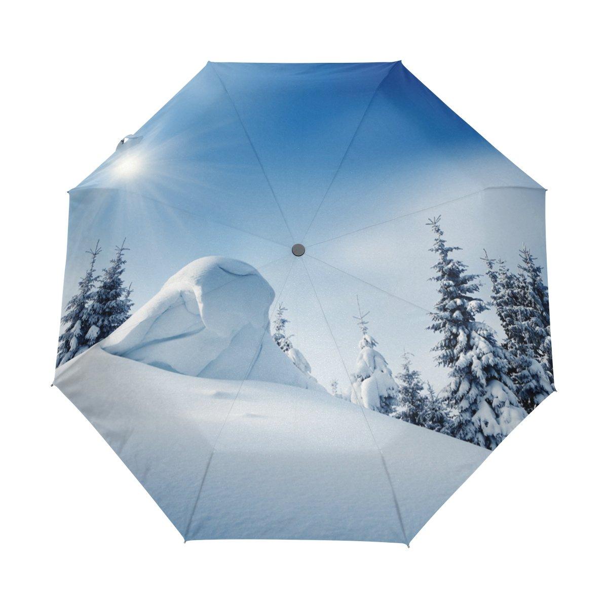 Senya Saobao防風と防雨トラベル傘with自動開いて閉じFolding Winter Landscapeポータブル折りたたみ式太陽雨傘 B07FLZPHDQ