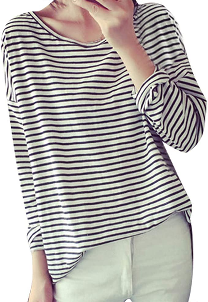MXJEEIO💖Camiseta de Mujer Manga Larga Tallas Grandes Elegante Oficina Corazón Rayas Impresión Blusa Camisa Cuello Redondo Basica Camiseta Suelto otoño Tops Casual Fiesta T-Shirt Original tee: Amazon.es: Ropa y accesorios