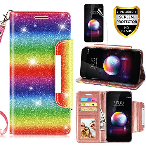 LG K30 Case, LG Harmony 2/K10 2018/LG Phoenix Plus +/LG Premier Pro LTE Phone Case Wallet with Screen Protector Leather Magnetic Glitter with Kickstand Credit Card Holder Slot for Women (Rainbow)