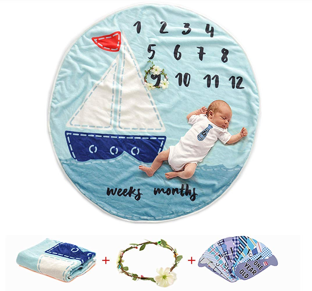AmazingM Newborn Baby Shower Gifts Set for Boy and Girl,Monthly Baby Milestone Blanket(Sailboat), with Bonus One Floral Wreath,24 pcs Milestone Stickers,37'' 37'' AmzingM
