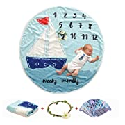 AmazingM Newborn Baby Shower Gifts Set for Boy and Girl,Monthly Baby Milestone Blanket(Sailboat), with Bonus One Floral Wreath,24 pcs Milestone Stickers,37''