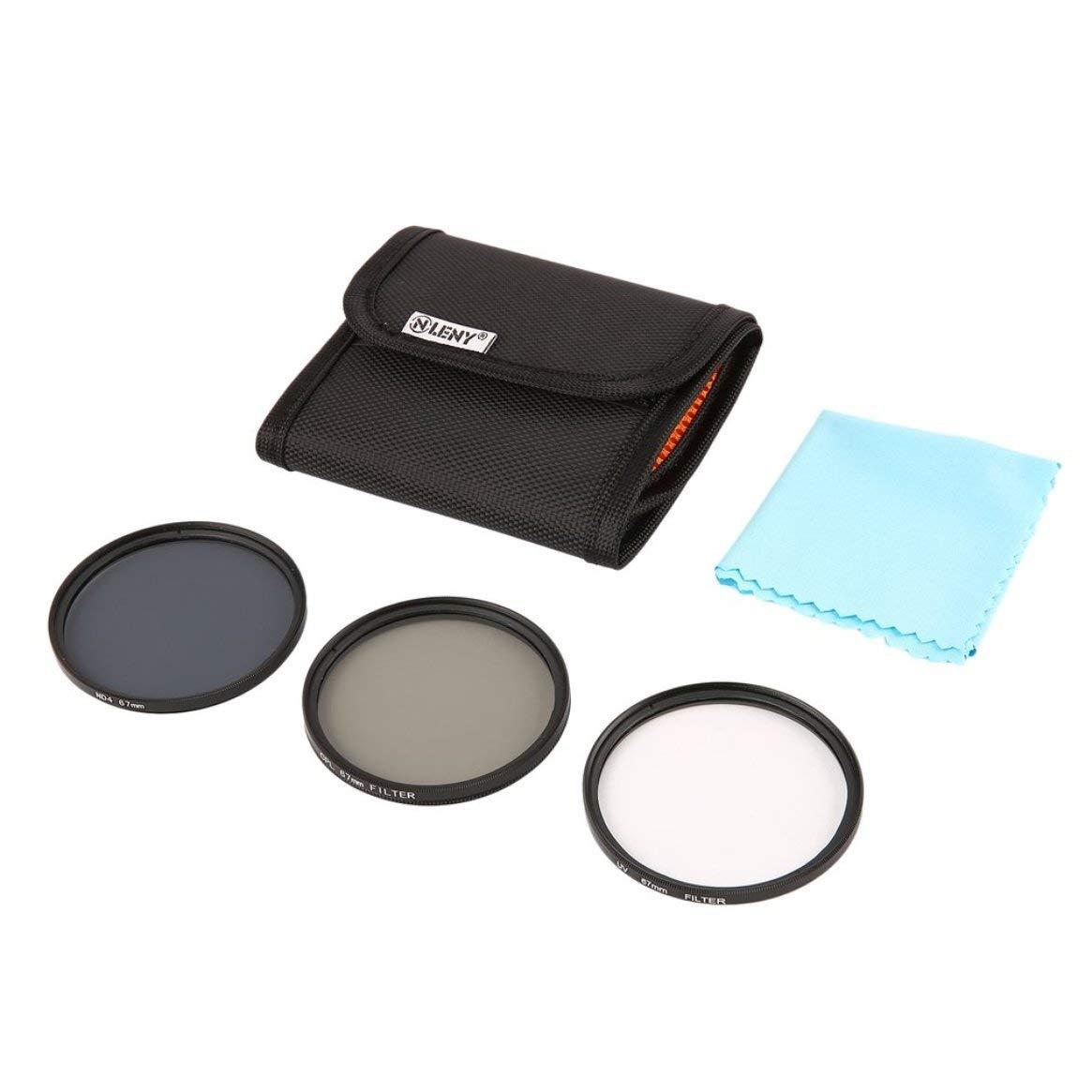 Onleny 67mm Filtre Set Filtres UV CPL ND4 Slim Sac de Rangement + Kit de Nettoyage 5pcs Appareil Photo numé rique - Noir & Orange 67mm Delicacydex