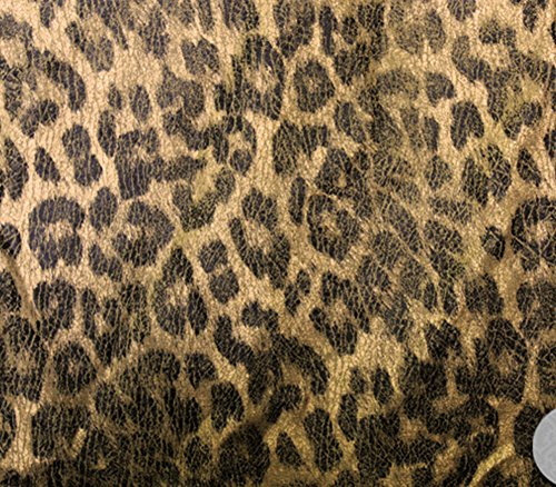 Vintage Suede Fabric Reversible Backing Crushed Metallic Gold Leopard Upholstery / 58