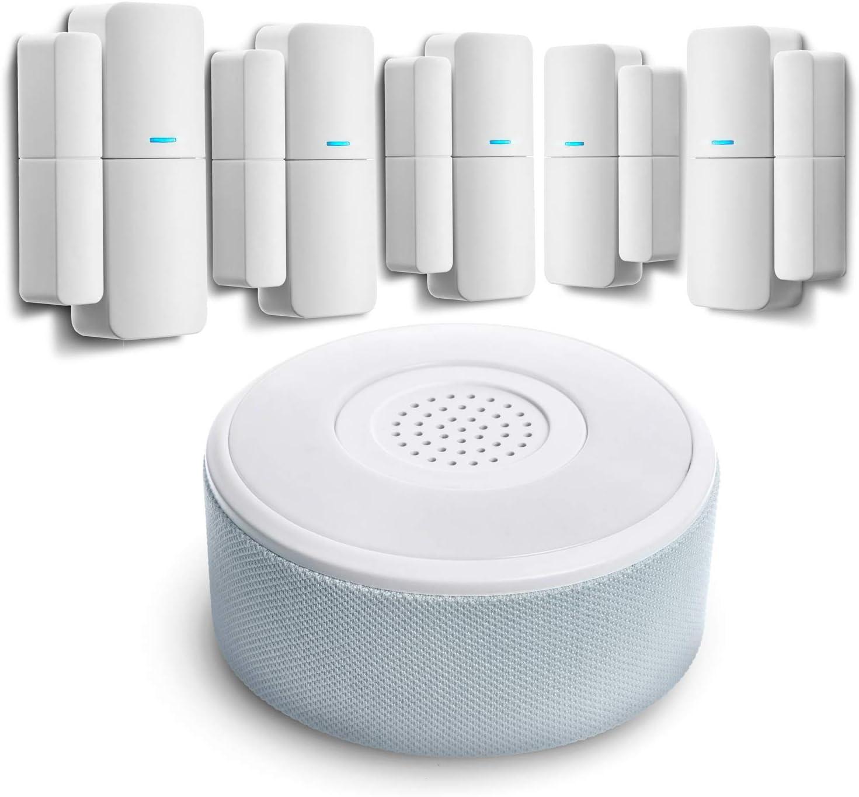 Home Zone Security Smart Wireless Door, Window Sensor and Security Siren Alarm Kit (5-Pack)