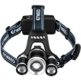 Enkeeo LED Headlamp Flashlights 1000 Lumen Zoomable Rechargeable Waterproof Headlight with 4 Light Modes, Red Backlight, Battery Pack, Car Charger for Hiking Camping Riding Fishing Hunting