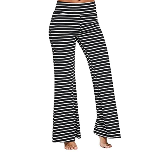 48ca3afd240 Elogoog Hot Sale 2018 Women s Classic Striped Yoga Palazzo Summer Casual  High Waisted Loose Wide Leg