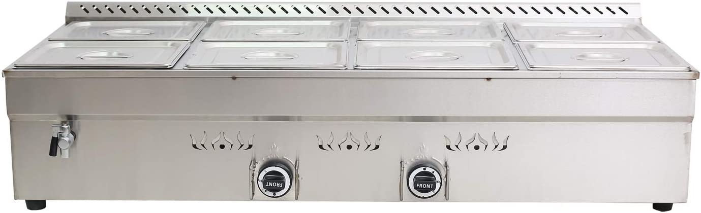 TECHTONGDA Propane Gas Food Soup Warmer Stove Bain Marie Commercial Canteen Buffet Steam Heater 12''x8.7''x4'' Pan 8 Pan