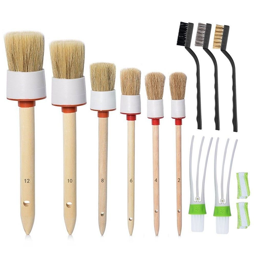 Detailing Brush Set Cleaning Tool Auto air Conditioner Brush Soft Natural (Set of 11) Detailing Brush Kit for Car Cleaning Vents Dash Trim Seats Wheels Yxaomite