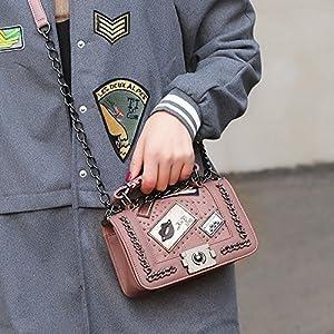 New Women PU Leather Chain Floral Handbag Crossbody Shoulder Messenger Bag (Color Pink)