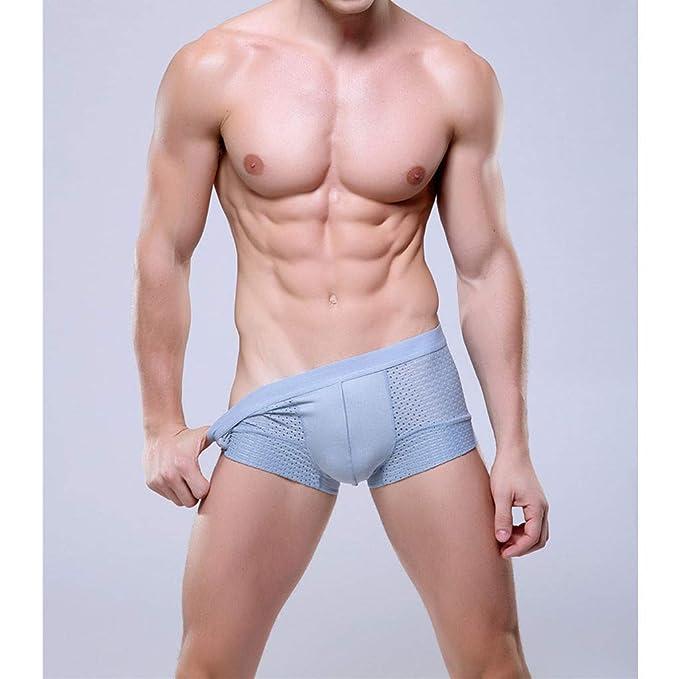 useme Cotton Mens Bodysuit Underwear Breathable Mesh Silk Men Boxers ... ba0dde9a188