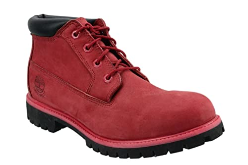 Mens Waterproof Timberland Nelson Red Nubuck Premium WP Chukka Boots A14WS  (UK 8.5 / EUR