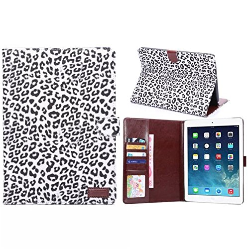 Ipad Air 2 Case Borch Fashion Luxury Multi-function Protective Floral Series Light-weight Folding Flip Smart Case Cover for Apple Ipad Air 2 Case (Leopard White)