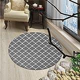 Grey Round Area Rug Quatrefoil Pattern Barbed Design Geometric Leaf Print Lattice Country Life InspiredOriental Floor and Carpets Gray White