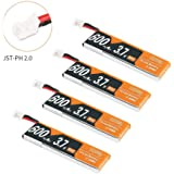 4pcs 600mAh 1S 3.7V LiPo Battery 50C JST-PH 2.0 PowerWhoop mCPX Connector Rechargeable 1S LiPo Battery for Inductrix FPV Plus