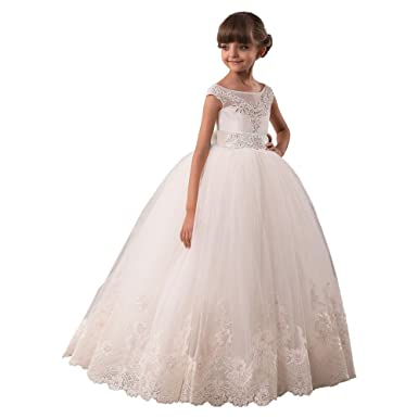 Sharon Flower Girls Dresses Long Vintage Lace First Communion Pageant Ball Gowns Ivory 2