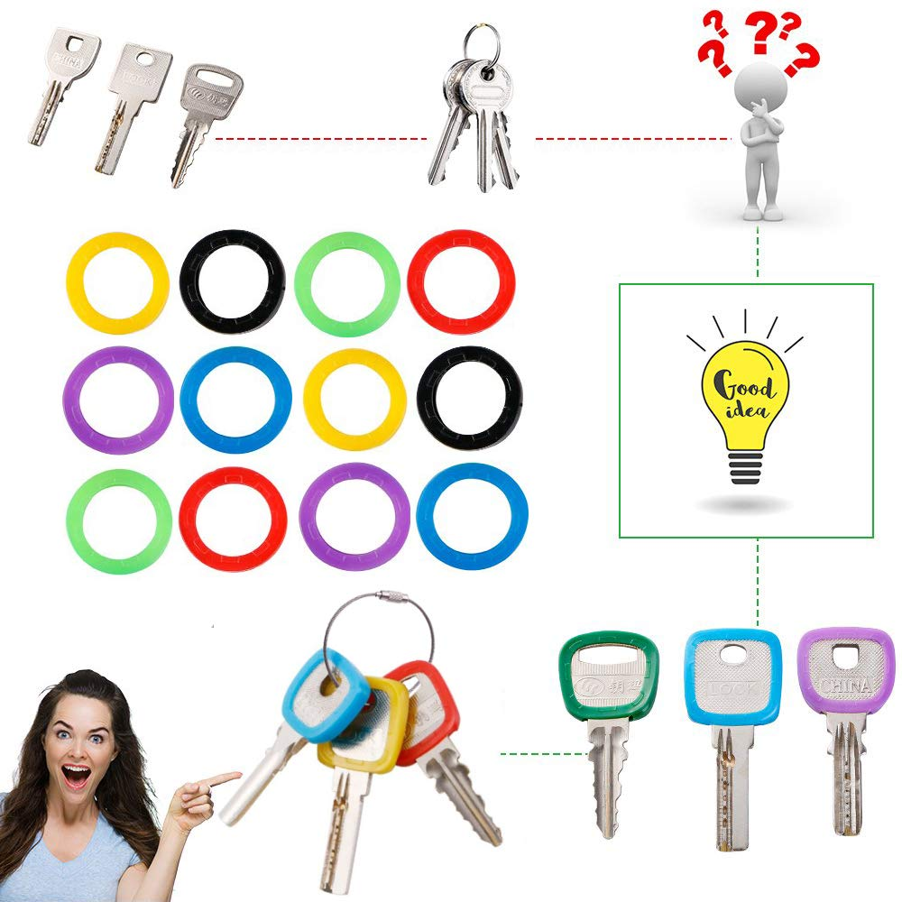 LoveInUSA 30 pcs Key Covers,10 Different Colors Key Caps with 2 Different Sizes Key Rings for House Key Perfect Coding System to Tag Your Keys