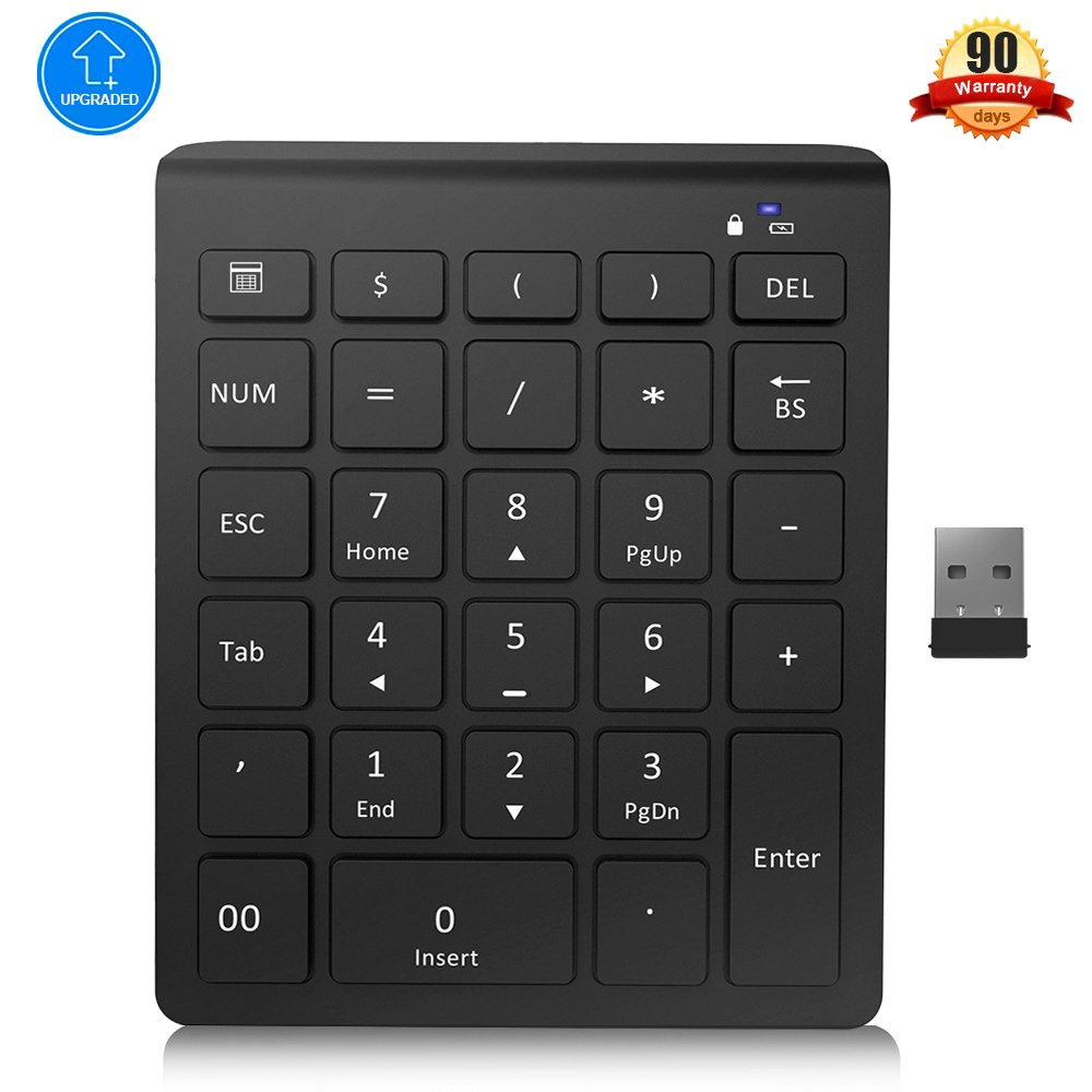 Wireless Number Pad, Wireless Numeric Keypad with Ultra-Light and Versatile, 2.4GHz, 28-Keys Number Pad with USB Receiver, Shortcuts for Laptop, Desktop, Surface Pro, Notebook and More-Black