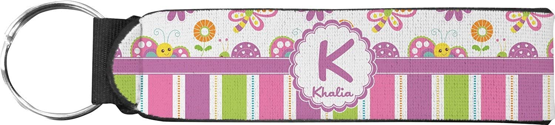 Butterflies & Stripes Keychain Fob (Personalized)