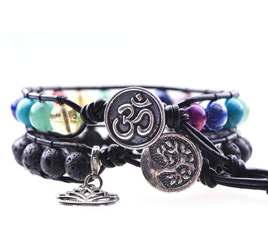 Mirilya Crystals and Healing Stones Men Women 7 Chakra Gemtones Lava Rock Essential Oil Diffuser Charm Bracelet