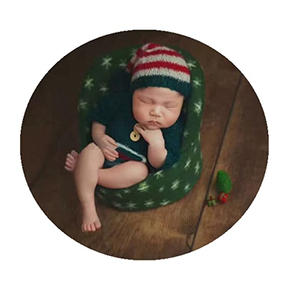 Newborn Baby Photo Props Small Sofa Seat For Boys Girls Christmas Photography Shoot Aid Green