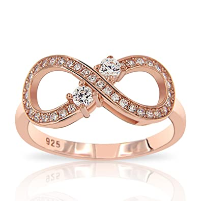 Infinity Infinity Rose Gold Plated 925 Sterling Silver Cubic