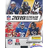 $79 » 2019 Panini NFL Football Stickers MASSIVE 50 Pack Factory Sealed Box with 250 STICKERS & 50 Cards! Look for Cards & Stickers of Patrick Mahomes,…