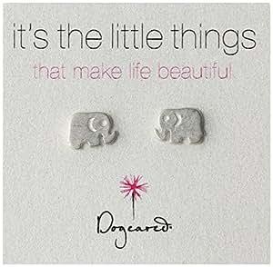 """Dogeared """"It's the Little Things"""" Sterling Silver Elephant Post Earrings"""