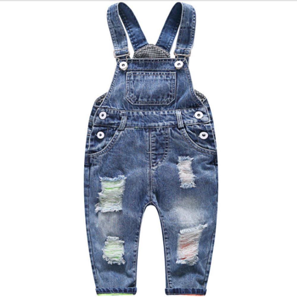 Ding Dong Baby Toddler Boy Girl Denim Overalls(Style 2,2T)