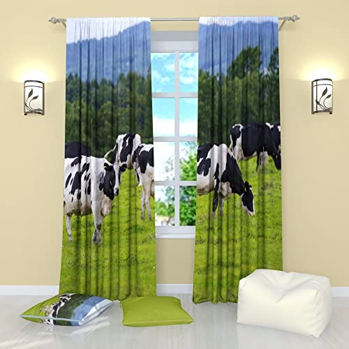Factory4me Animal Curtains Green Meadow. Window Curtain Set of 2 Panels Each W52 x L96 Total W104 x L96 inches Drape