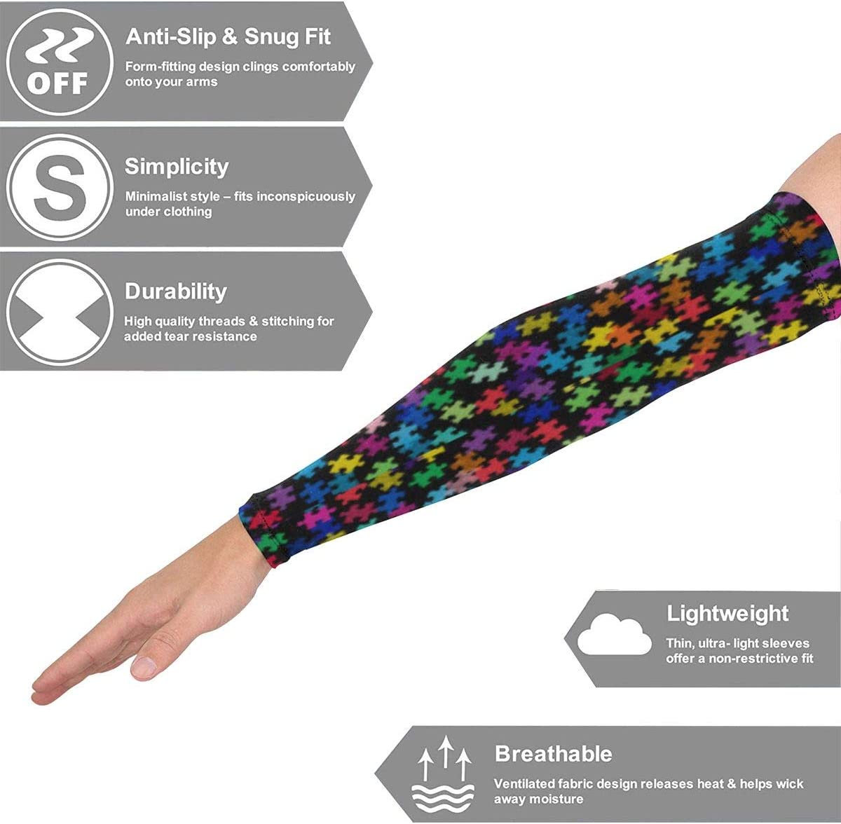 NTQFY Autism Awareness Colorful Puzzle Piece Arm Cover 2Pcs//Pair Unisex Cooling Arm Sleeves Stretch SPF 50 Sun Sleeves Breathable Polyester Arm Guard for Hiking//Golf//Cycling//Fishing//Driving//Jogging
