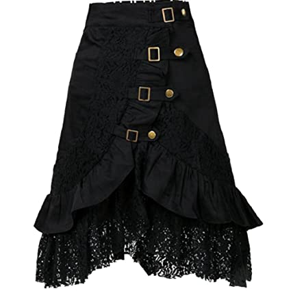 SaiDeng Mujer Punk Rock Gótico Faldas De Encaje Asimétrico Falda ...