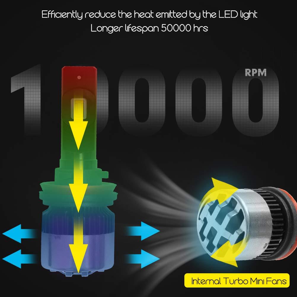 TSINGYUN H4 HB2 9003 LED Headlight Bulbs Hi//Low Beam Conversion LED Kits with Fan Adjustable 6000K Xenon White LED kits 2 Years Warranty 2 pack