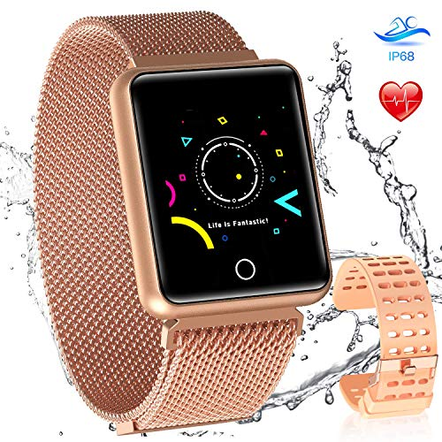 AGPTEK Bluetooth Smartwatch for Women, Sport Fitness Tracker IP67 Waterproof with Heart Rate, Blood Pressure, Sleep Monitor, Calorie Burn Counter, Message Reminder for Android iOS Champagne Gold