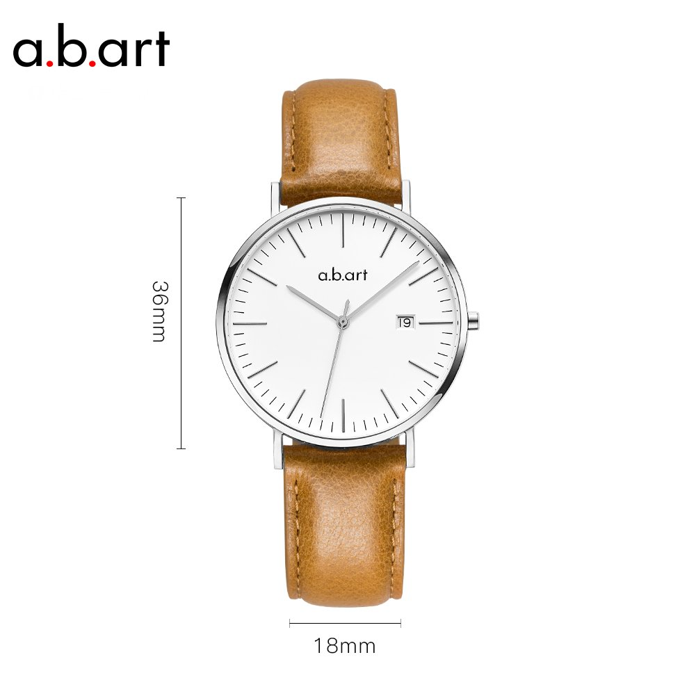 His gift a.b.art FB41-131-3L Wrist Watches for Men Light Brown Strap Silver Case Swiss Watch (Brown and Silver) by a.b.art (Image #2)