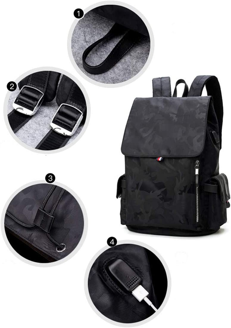 BAG Camouflage Travel Backpack Oxford Cloth Student USB Interface Computer Backpack Unisex 311542cm