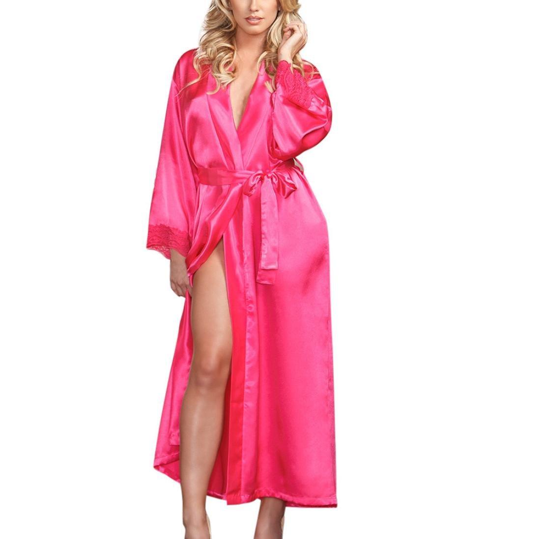 MOIKA Damen Seide Bademantel, New Frauen Lange Seide Kimono Morgenmantel Babydoll Dessous Bath Robe Unterwäsche Nachtwäsche Hot Rosa)