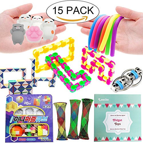 Leeche The Ultimate Handheld Fidget Toys Bundle Prefect Size Party Favors For Kids Puzzle Balls/Squishies Toys/Infinity Cube/Sensory Toys/Fidget Ring Toy For Add Adhd,Christmas Stocking Stuffers ()