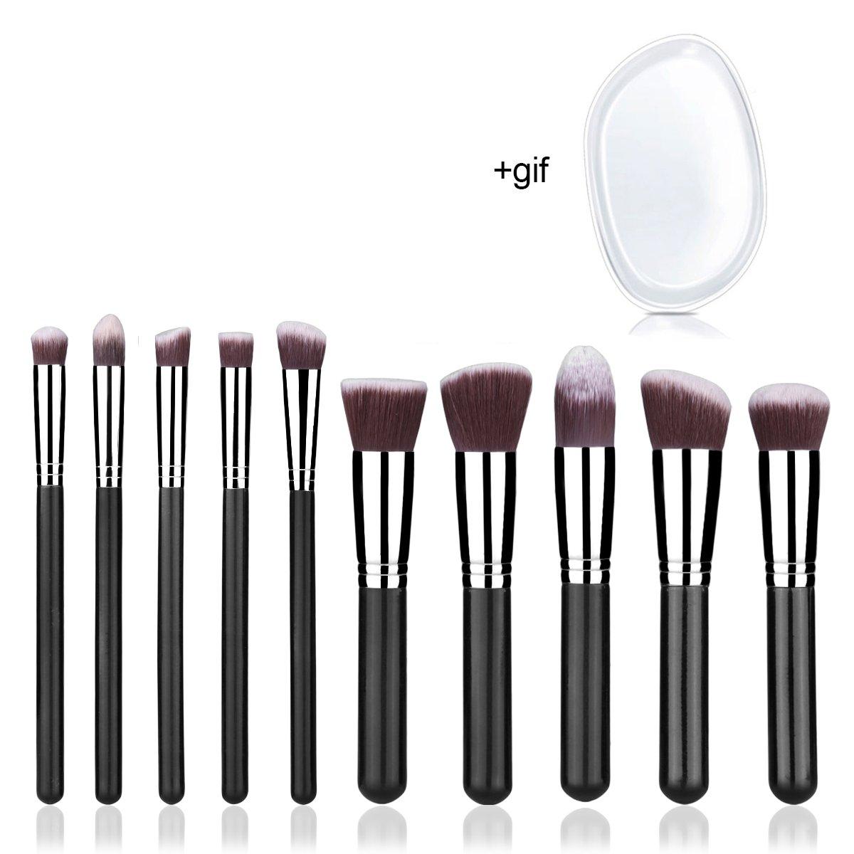 Makeup Brushes 10 Pcs Professional Kabuki Foundation Blending Make Up Brush Set and Silicone Sponge for Powder Liquid Cream Fits Eye Shadow Eyeliner Face Nose Aspior