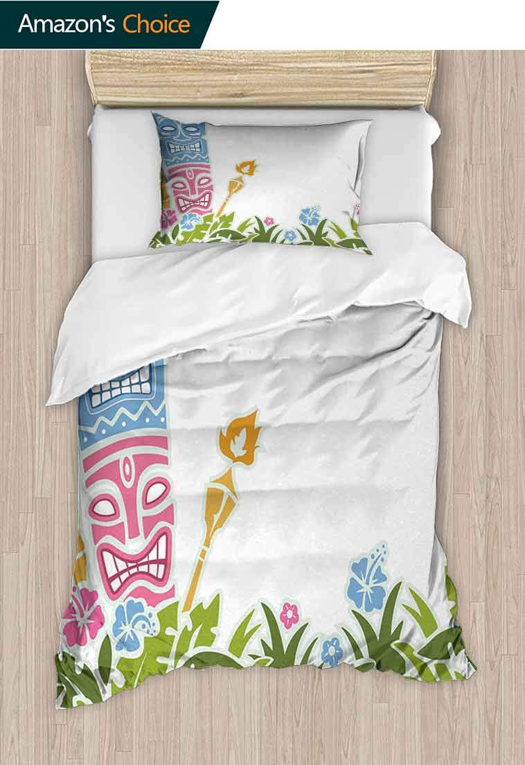 Tiki Bar DIY Quilt Cover and Pillowcase Set, Statues Surrounded by Fresh Vibrant Hibiscus Flowers Polynesian Print, Reversible Coverlet, Bedspread, Gifts for Girls Women, 79 W x 90 L Inches