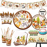Woodland Animal Disposable Party Tableware, 182Pcs Woodland Animal Party Supplies Set with Plates, Napkins, Cups, Table…