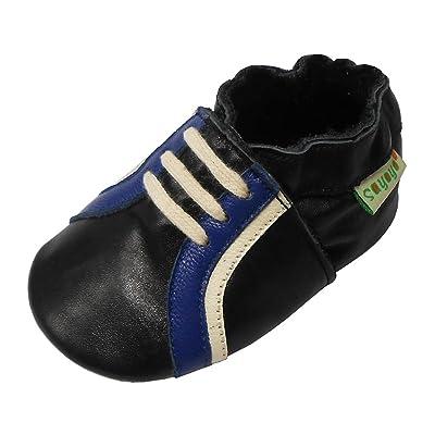 Sayoyo Cuir Souple Bébé Chaussures Enfants Garçons Filles Sneakers Premiers Pas Chaussons Noir