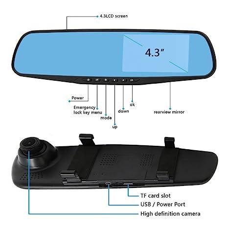 Amazon.com: eDealMax 4,3 pulgadas TFT LCD HD 1080P 170 Amplio ángulo de la cámara Dual del coche Espejo retrovisor Con ayuda del Video de G-Sensor de ...