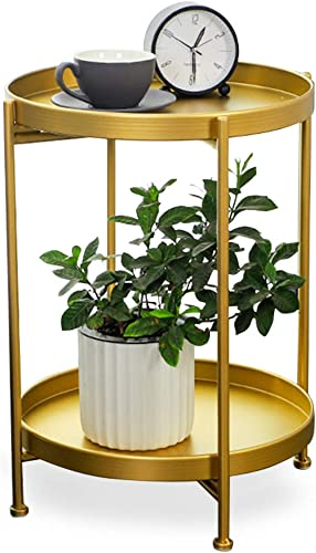 Gold Metal End Table, 2 Tier Circle Side Table, Sofa Table Coffee Tray, Coffee Table Indoor Outdoor