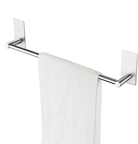 Amazon Com Taozun Self Adhesive 16 Inch Bathroom Towel Bar Brushed Sus 304 Stainless Steel Bath Wall Shelf Rack Hanging Towel Stick On Sticky Hanger Contemporary Style Home Kitchen