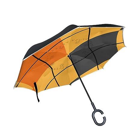 COOSUN Geometría de Halloween patrón de doble capa del paraguas invertido inversa para el coche y