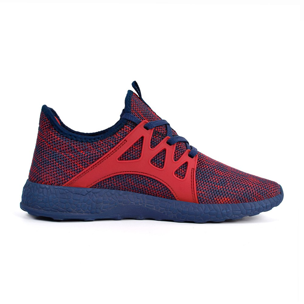 QANSI Men's Sneakers Mesh Ultra Lightweight Breathable Athletic Running Walking Gym Shoes 8 M US Red/Blue