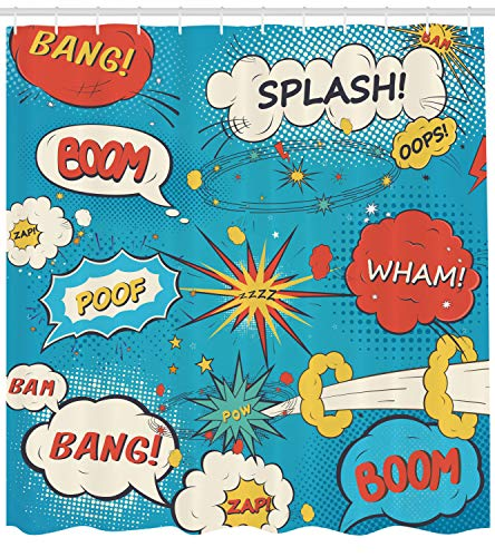 Ambesonne Superhero Shower Curtain by, Pop Art Style Comic Speech Bubbles Funny Humor Expressions Boom Splash Bang, Fabric Bathroom Decor Set with Hooks, 70 Inches, Blue Cream -
