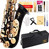 Glory Black/Gold Keys E Flat Professional Alto Saxophone sax with 11reeds,8 Pads cushions,case,carekit-More Colors with Silver or Gold keys