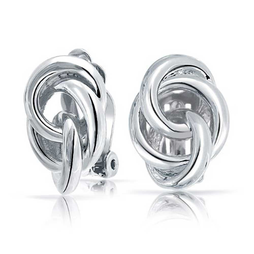 Love Knot TrIple Circle Clip On Earrings for Non Pierced Ears Rhodium Plated Brass Bling Jewelry AG-SE0014SI